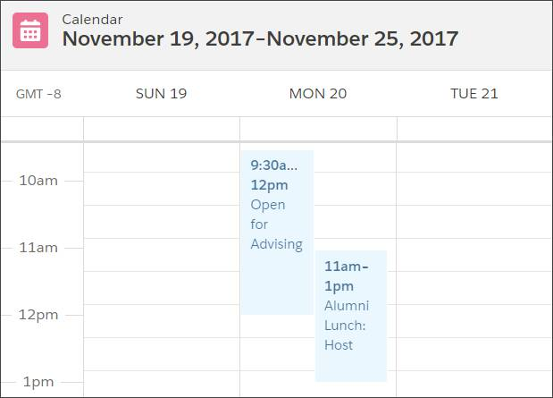 Adrian's calendar showing overlap between a recurring appointment for open advising hours and a one-time appointment for an alumni lunch.