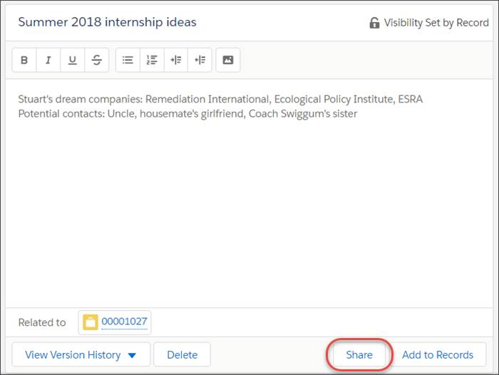 A note titled Summer 2018 internship ideas with the Share button highlighted.