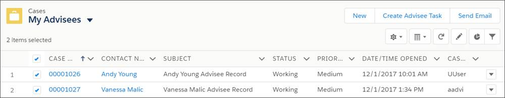 An advisor's cases in full-screen list view.