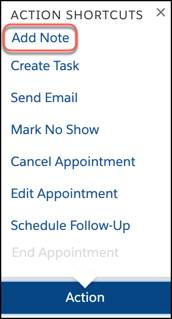Add Note selected from the Action Shortcuts dropdown menu.