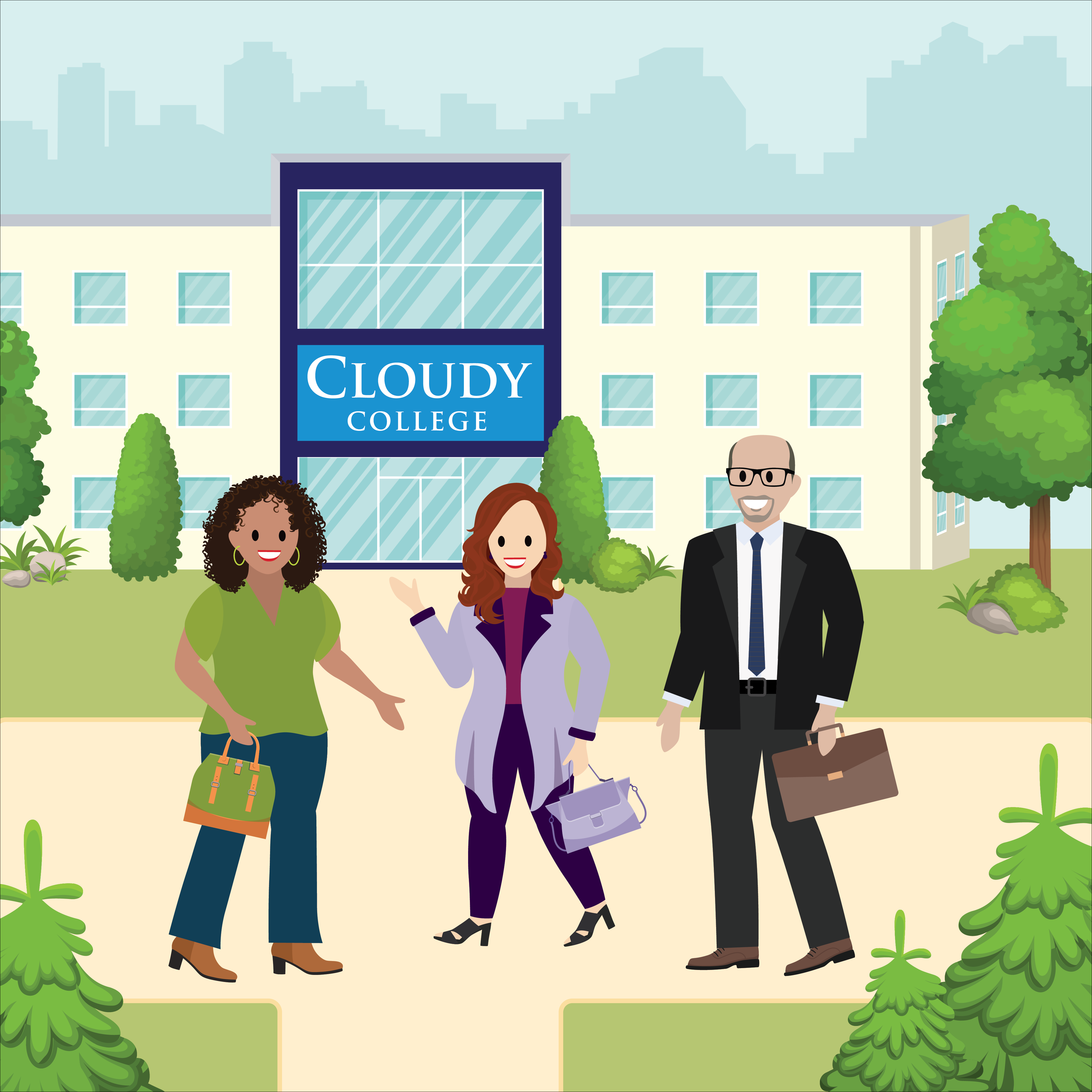 Members of the Cloudy College student experience team walk across campus.