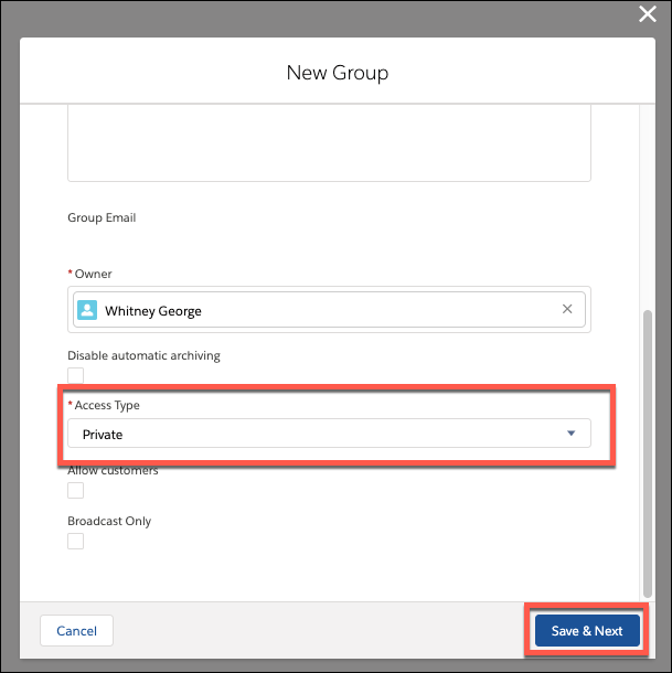 New Group fields Owner and Access Type, with Access Type set to Private.
