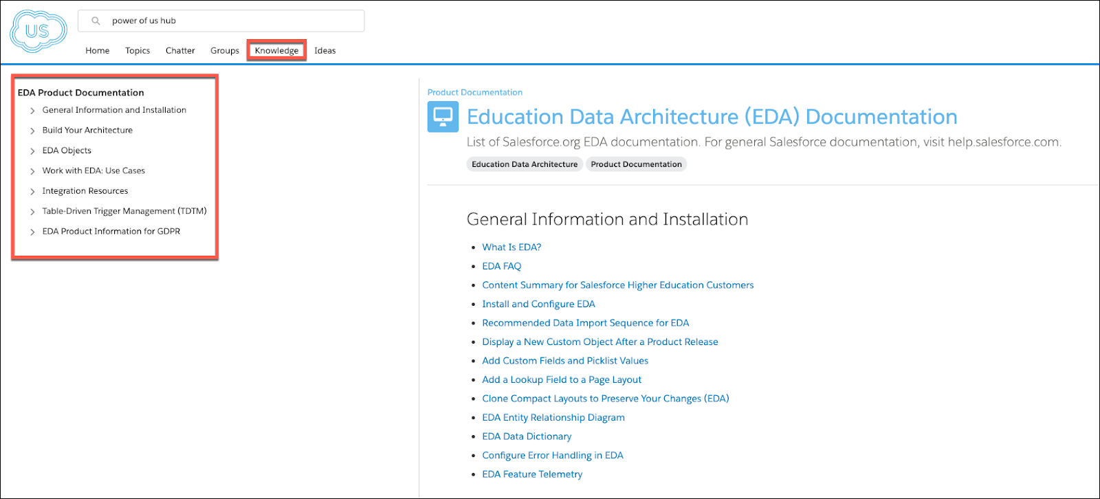 The Power of Us Hub Knowledge tab and the table of contents of EDA Product Documentation.