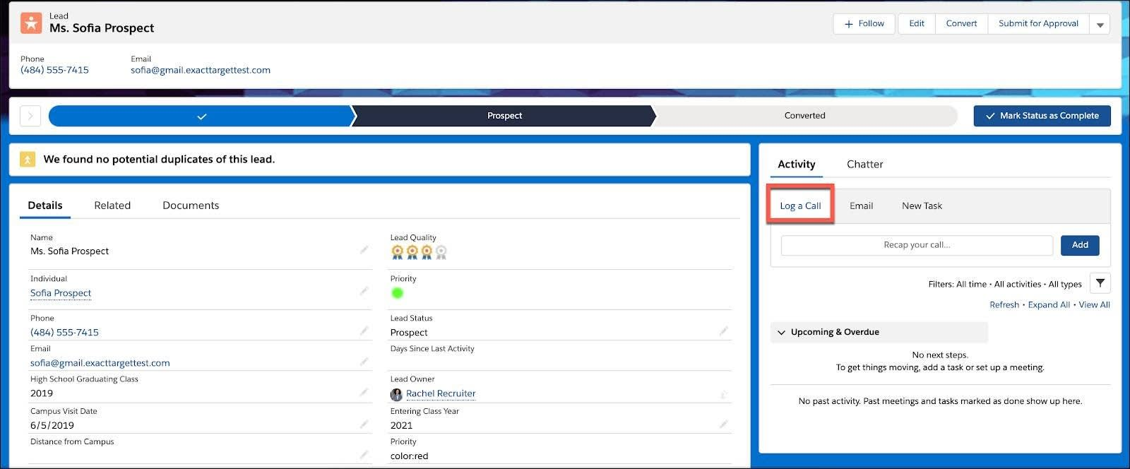 On the Contact record for a prospective student, the Log a Call button is highlighted under the Activity tab.