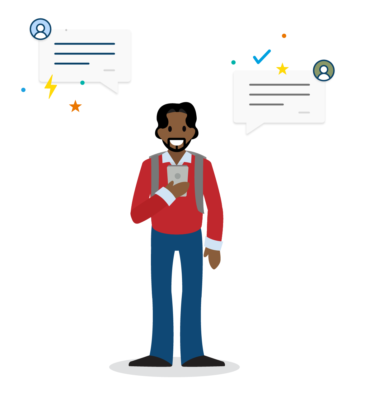 A student on a smartphone messaging with a Salesforce chatbot