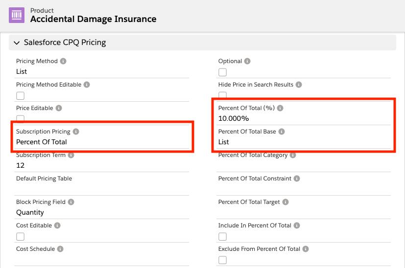Accidental Damage Insurance product record