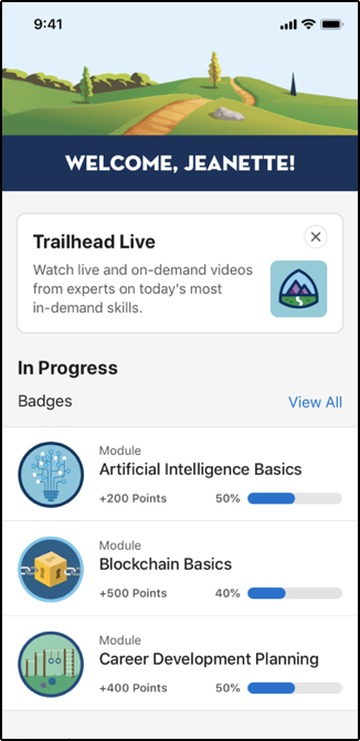 Trailhead Live tile on the Trailhead GO app