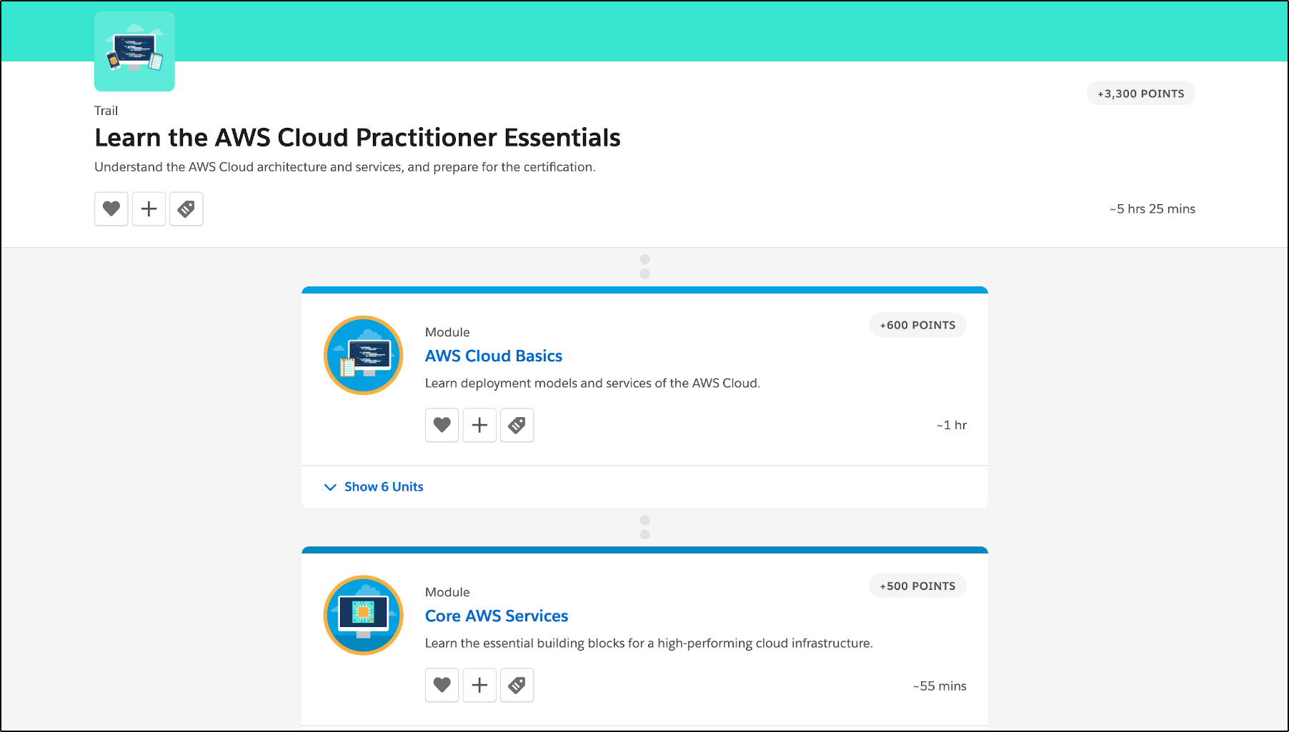 AWS Cloud Practitioner trail