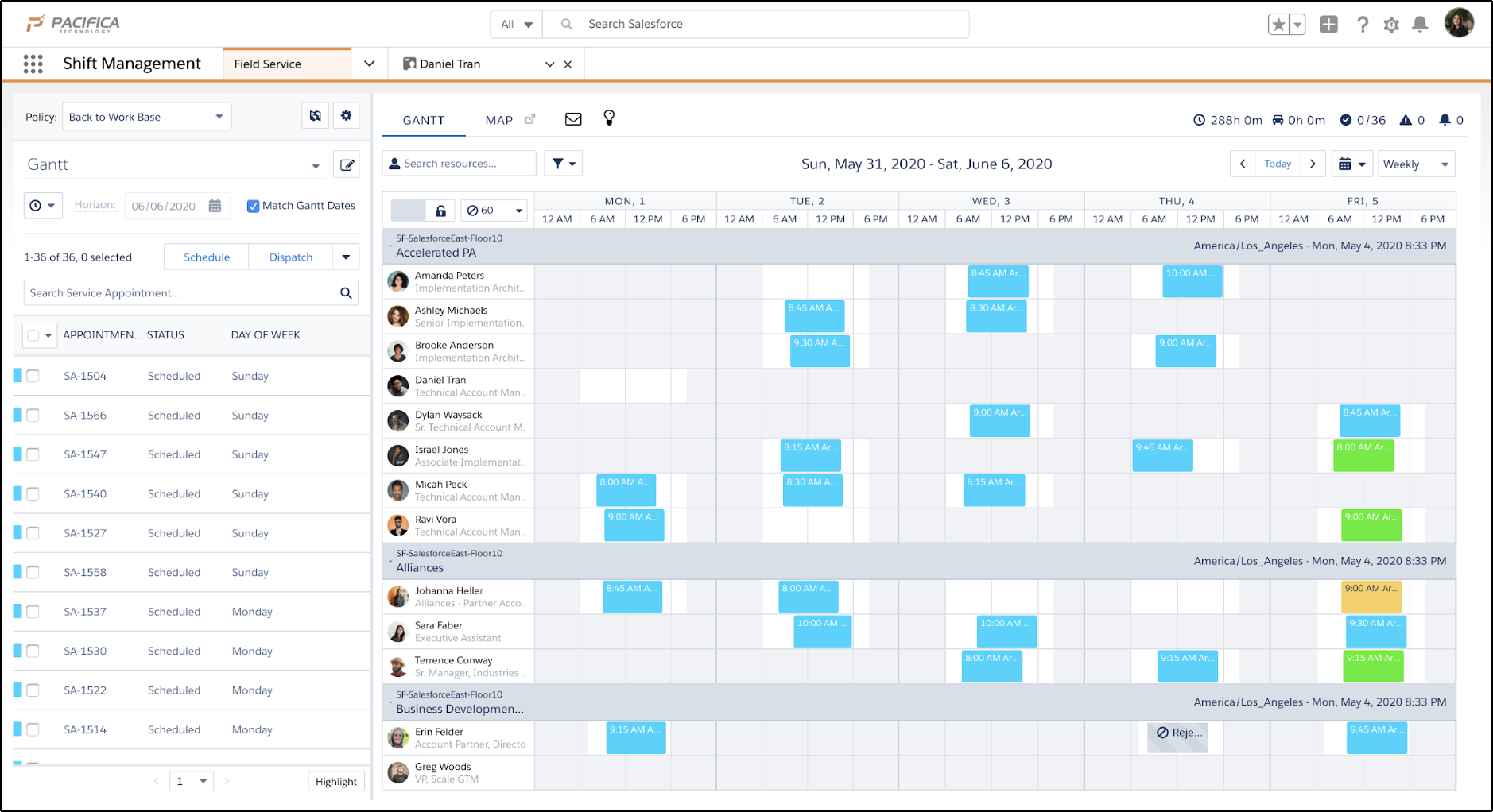Shift Management Gantt schedule view