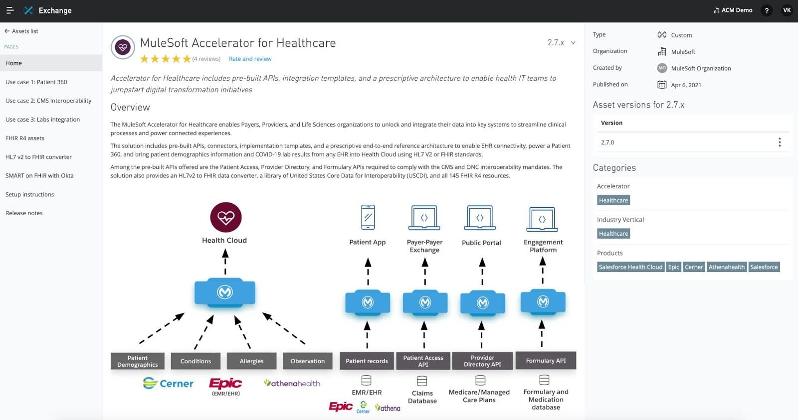 MuleSoft Accelerator for Healthcare on AppExchange