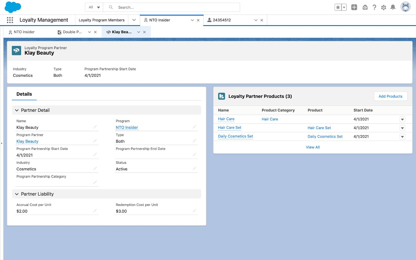 Partner Liability fields on a Partner record in Loyalty Management