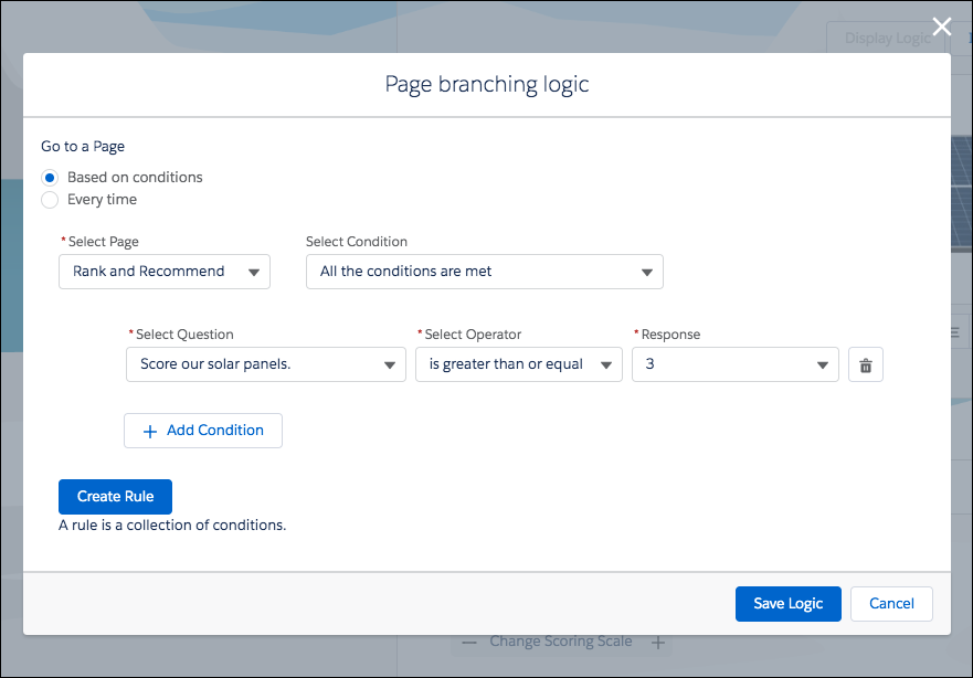 Page branching logic modal in which the branching logic for a page is defined