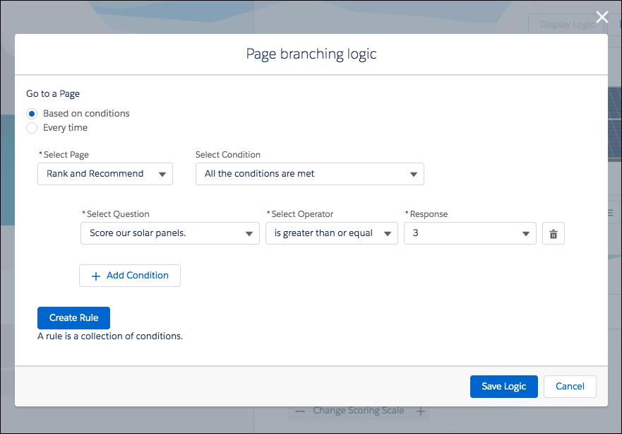 O modal da lógica de ramificação de página na qual a lógica de ramificação de uma página é definida