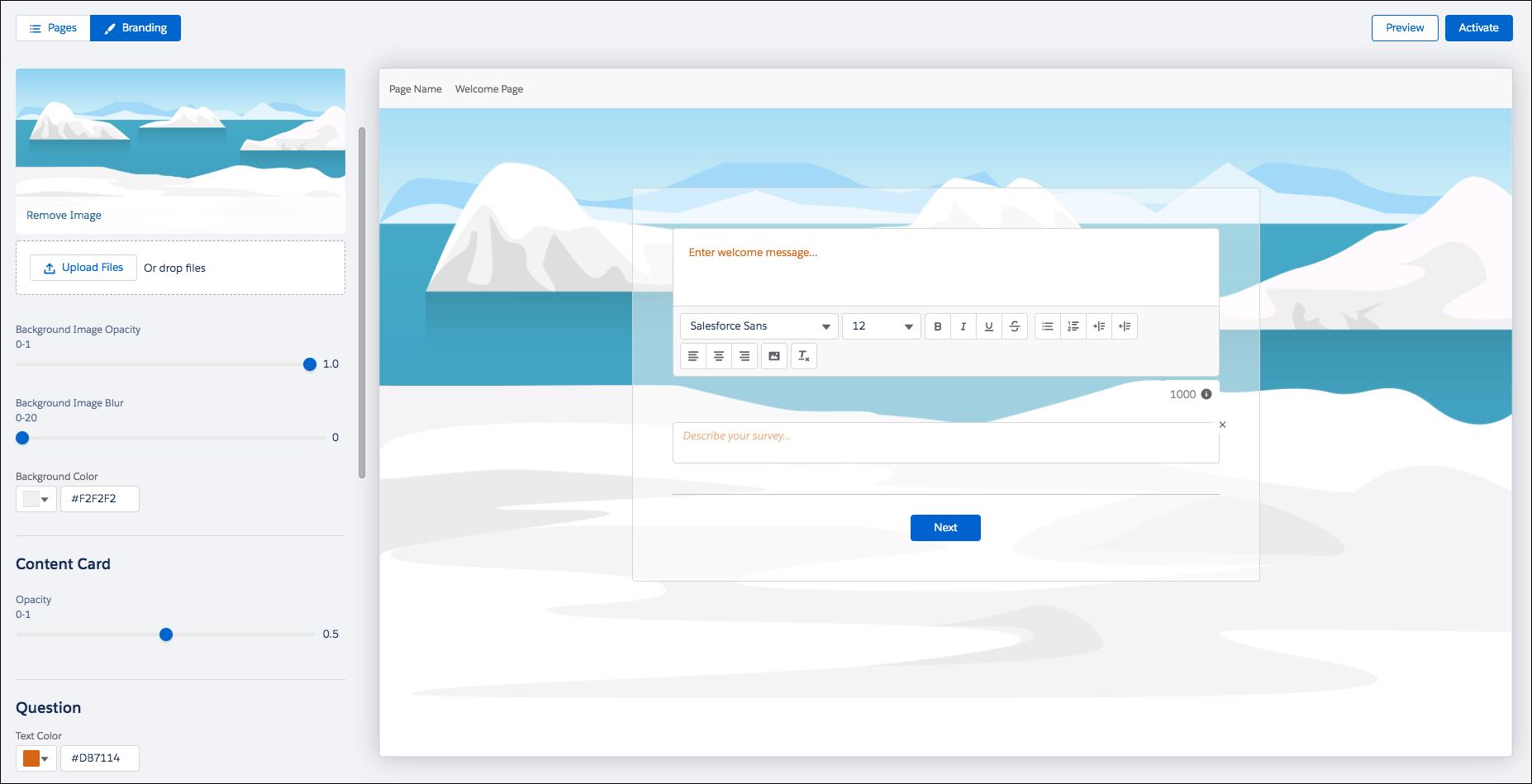 Générateur d'enquête avec l'icône de style sélectionnée et qui affiche une image de désert personnalisée.