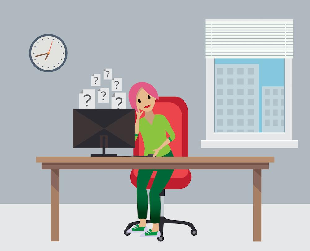Erin da Ursa Major sentada no escritório, com pesquisas imaginárias flutuando de seu computador.