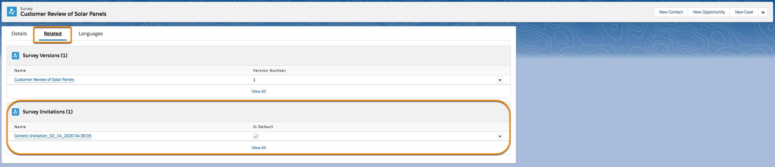 Registro de convite de pesquisa na guia Relacionados do registro da pesquisa.