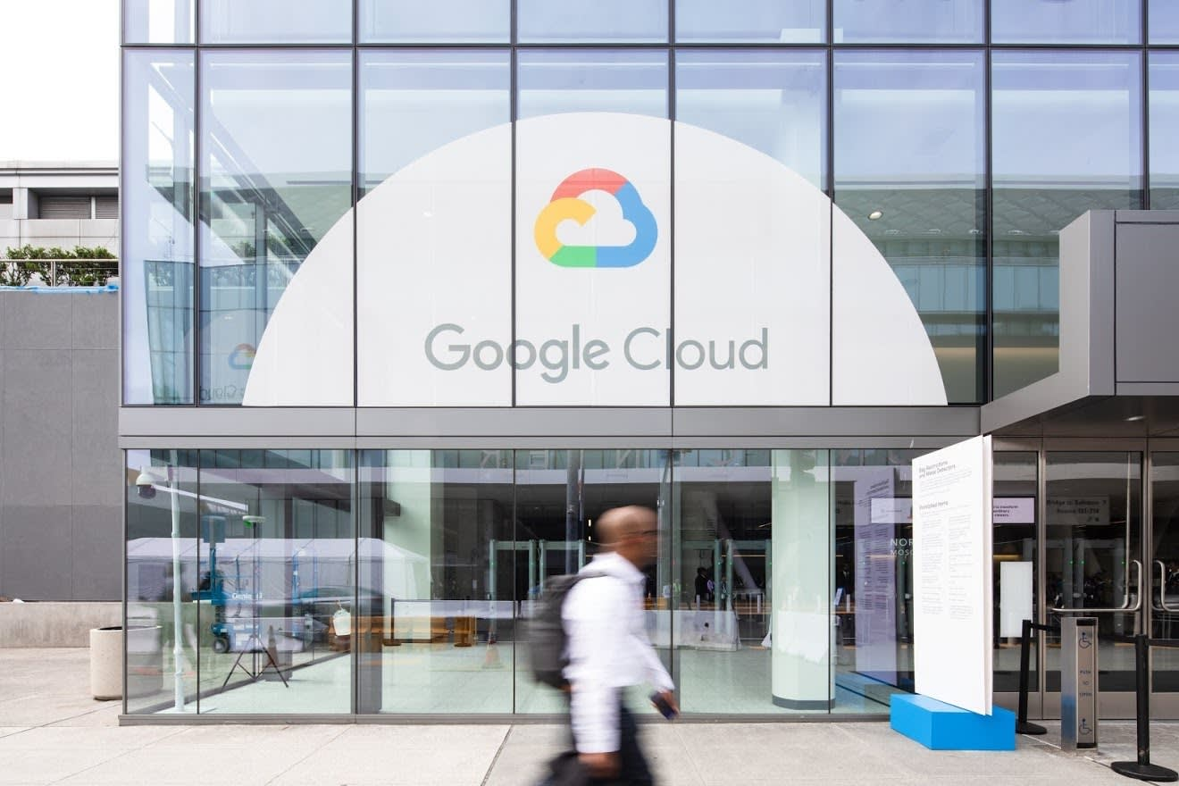 Conference building with Google Cloud logo on the window
