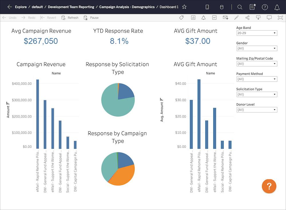 NMH Campaign Analysis Dashboard overview