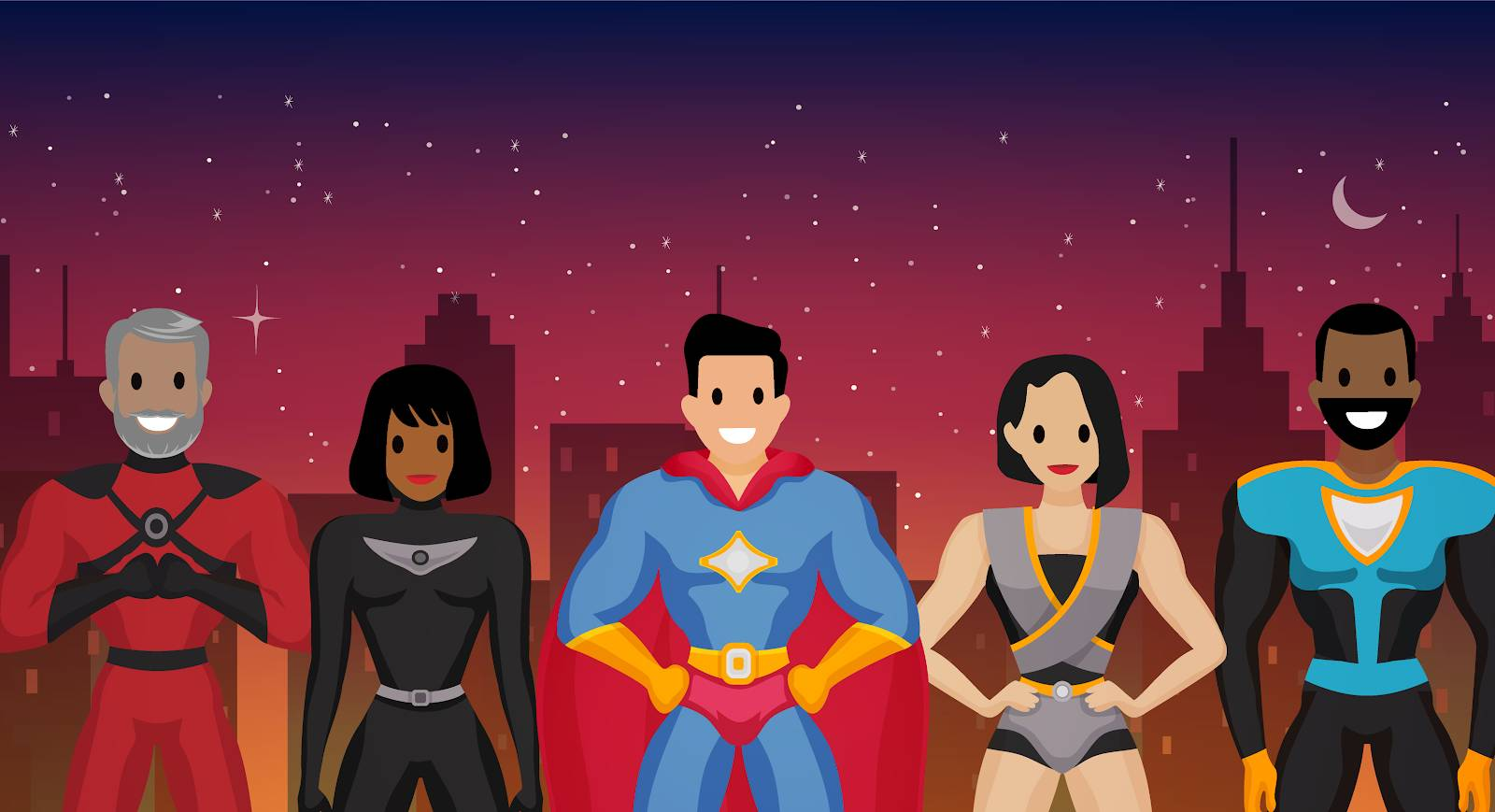Salesforce customers depicted as superheroes