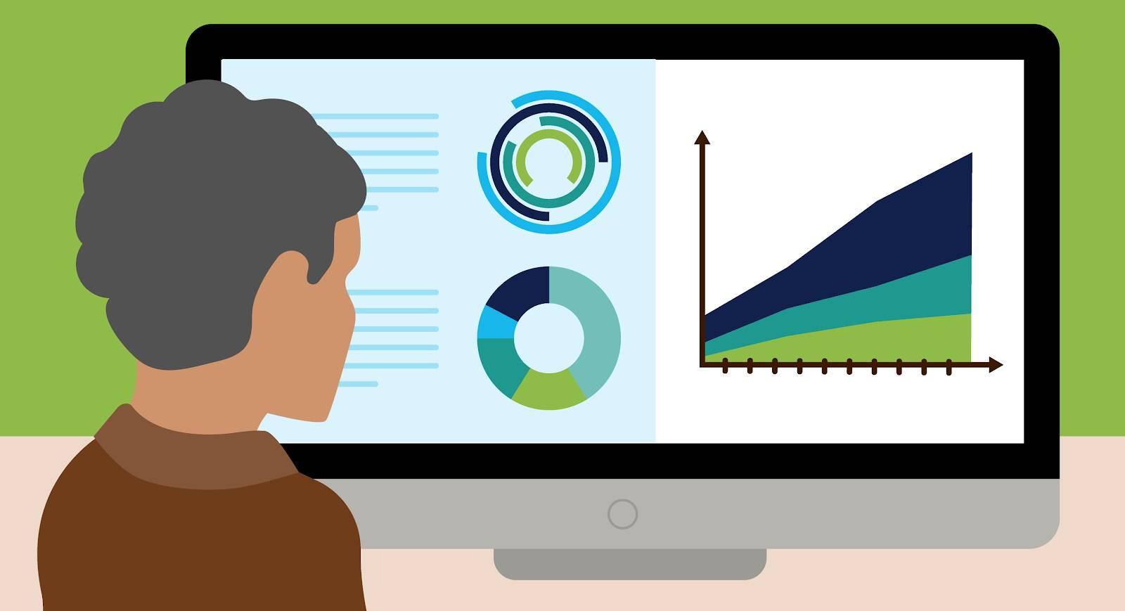 Social impact executive reviewing data
