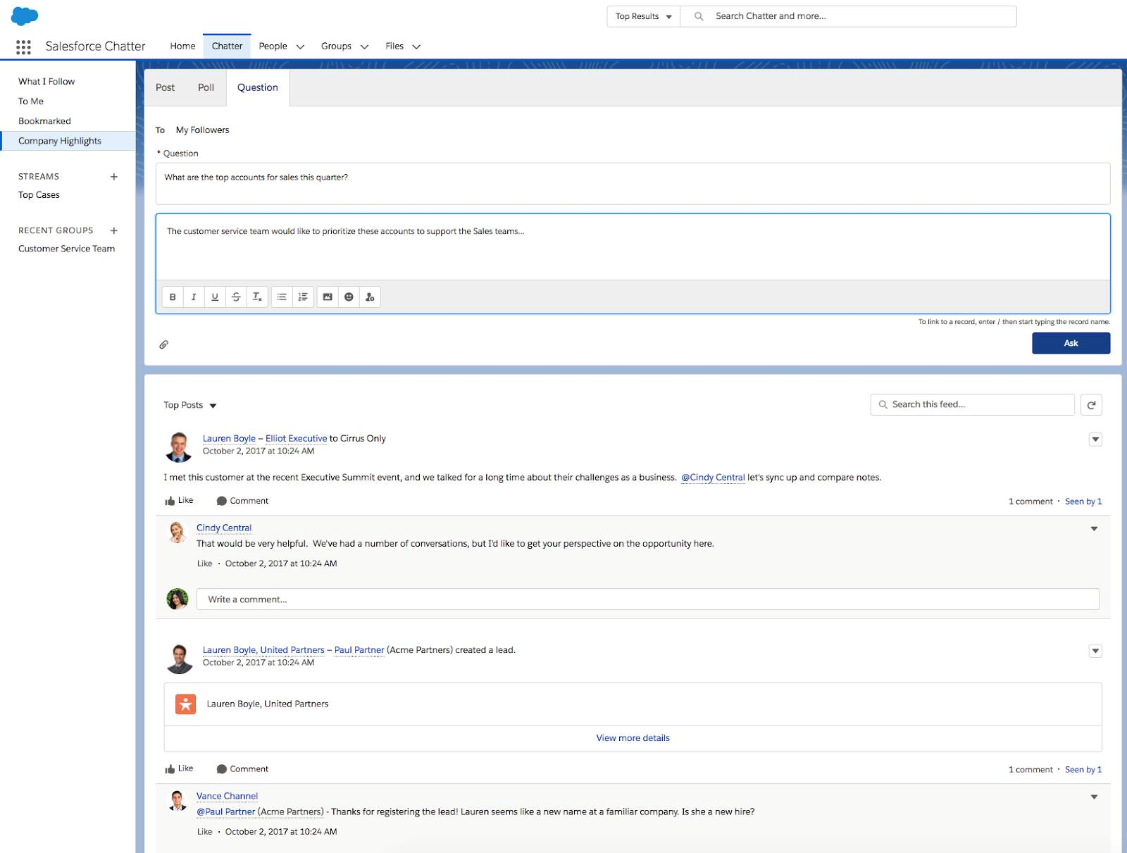 Example of collaboration available on chatter