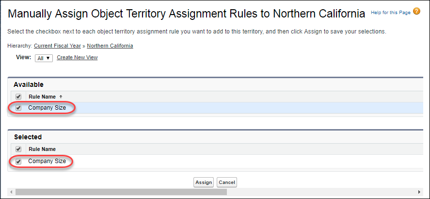 The Manually Assign Object Territory Assignment Rules to Northern California page in Setup, with the Company Size rule selected for assignment