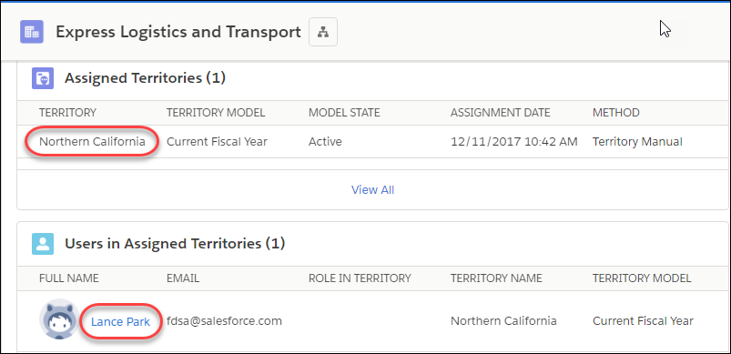 The Express Logistics and Transport account with related lists showing the assigned territory and user