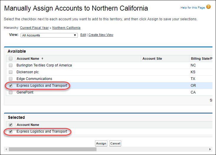The Manually Assign Accounts to Northern California page in Setup, with the Express Logistics and Transport account selected for assignment