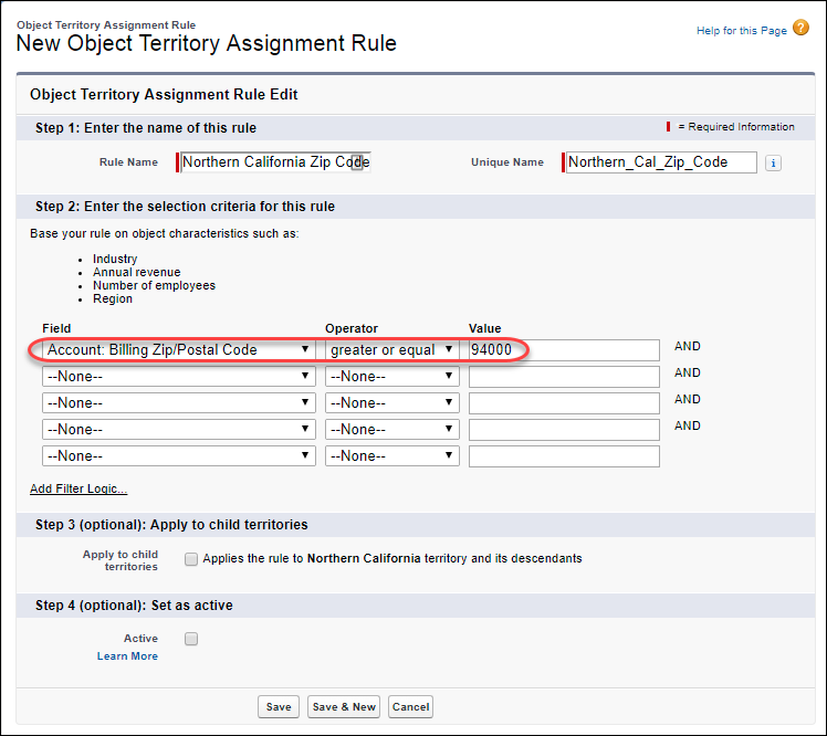 The Object Territory Assignment Rule edit page in Setup, with the Northern California Zip Code rule in progress