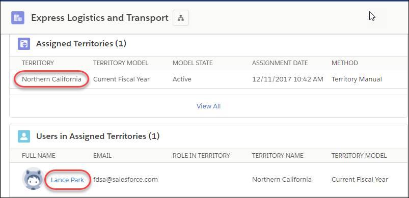 Der Account 'Express Logistics and Transport' mit Themenlisten, in denen die zugeordnete Region und der zugeordnete Benutzer angezeigt werden