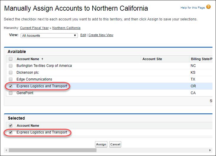 Die Seite 'Accounts manuell zuordnen zu Northern California' im Setup mit für die Zuordnung ausgewähltem Account 'Express Logistics and Transport'