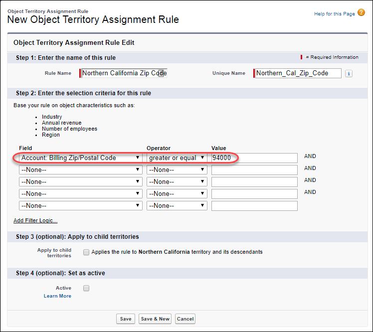 Die Bearbeitungsseite 'Objekt-Regionszuordnungsregel' im Setup mit der in Bearbeitung befindlichen Regel 'Northern California Zip Code'