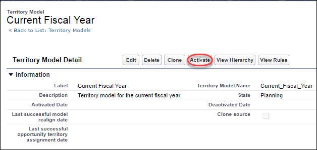 [設定] の [Current Fiscal Year (当会計年度)] テリトリーモデルページ。モデルが有効化可能な状態になっています。