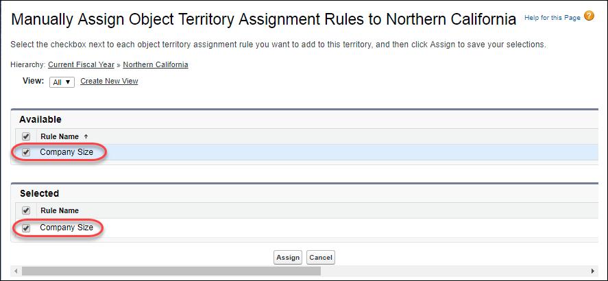 [設定] の [Manually Assign Object Territory Assignment Rules to Northern California (オブジェクトテリトリー割り当てルールを Northern California (カリフォルニア北部) に手動で割り当て)] ページ。割り当てるルールに [Company Size (会社の規模)] が選択されています。