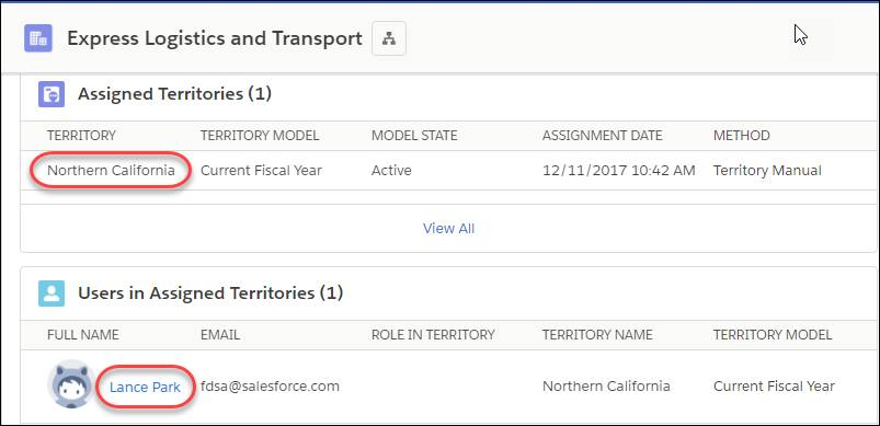 [Express Logistics and Transport] 取引先。関連リストに割り当て済みのテリトリーとユーザが表示されています。