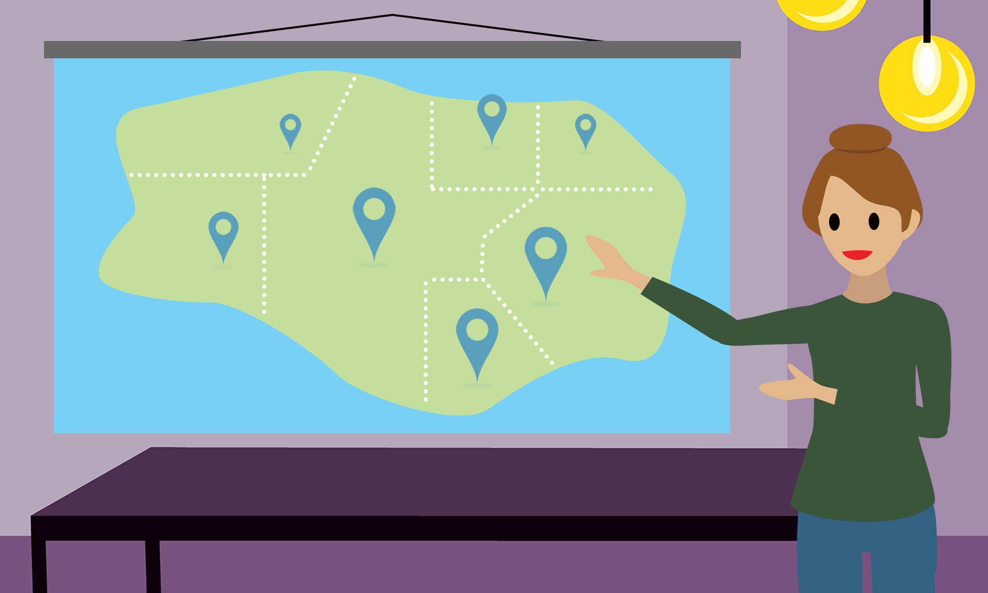 地域ごとにテリトリーに分割された地図