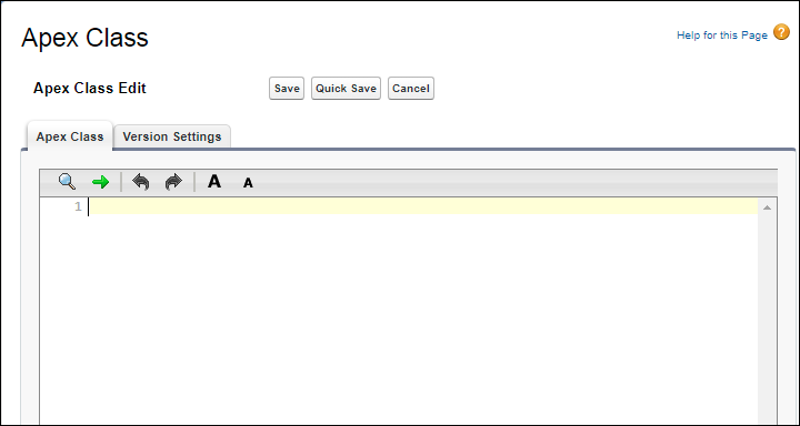 The Apex Class edit page in Setup
