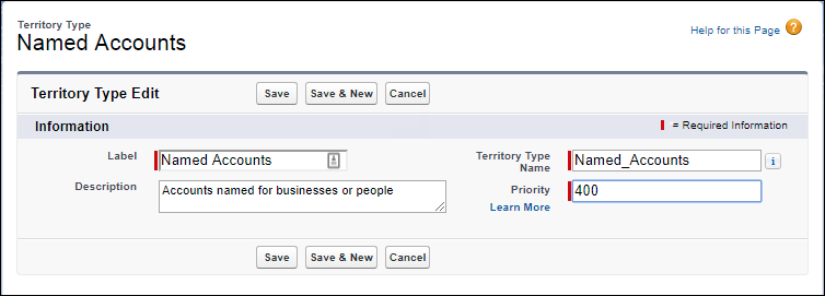 The Named Accounts territory type record with its Priority value edited to 400