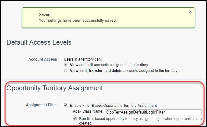 The Territory Settings page with filter-based opportunity territory assignment enabled