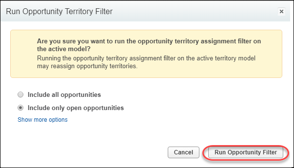 The opportunity territory filter ready to run for open opportunities only