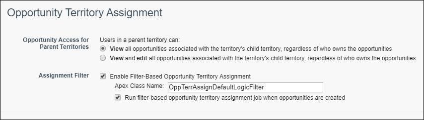 検索条件に基づく商談テリトリー割り当てが有効化された、テリトリーの設定ページ