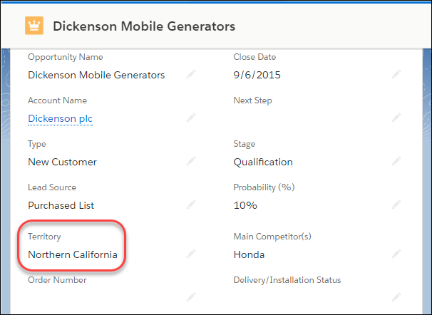 Northern California テリトリーが割り当てられた Dickenson Mobile Generators 商談