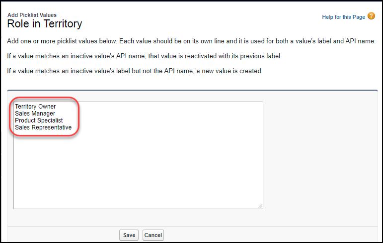 テリトリーでのロールに 4 つの値が追加された、[設定] の [選択リスト値の追加] ページ