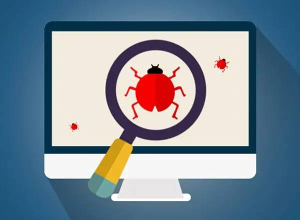 Searching for software bugs represented by a magnifying glass over a ladybug