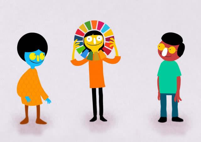 Cartoon of 3 young people side by side, the person in the middle is peering through a hollow colour wheel representing the 17 sustainable development goals.