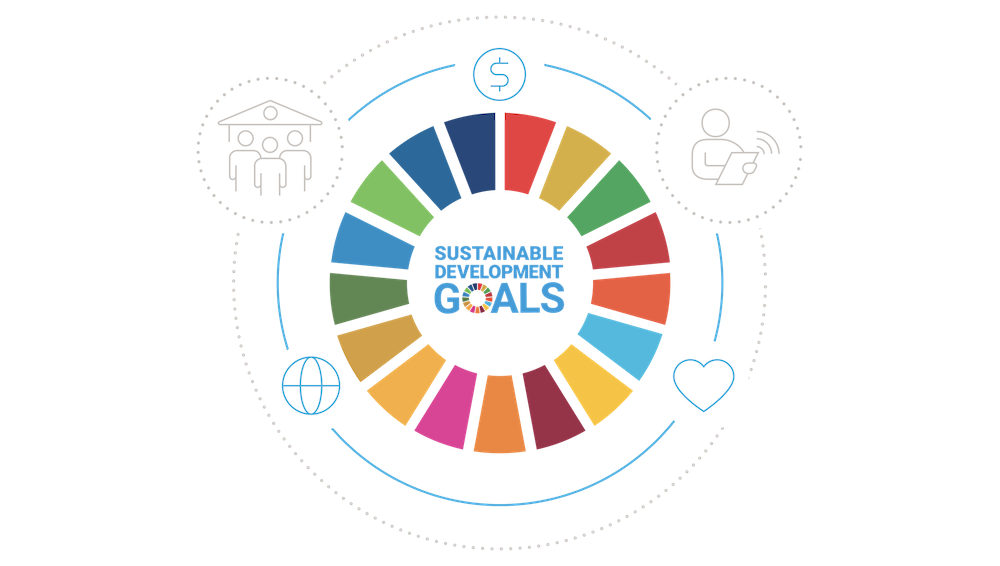 SDGs の性質を反映するアイコンで囲まれた SDG 目標の輪