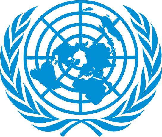 logo of the United Nations - a map of the world representing an azimuthal equidistant projection centred on the North Pole, inscribed in a wreath consisting of crossed conventionalized branches of the olive tree, in gold on a field of smoke-blue with all water areas in white. The projection of the map extends to 60 degrees south latitude, and includes five concentric circles