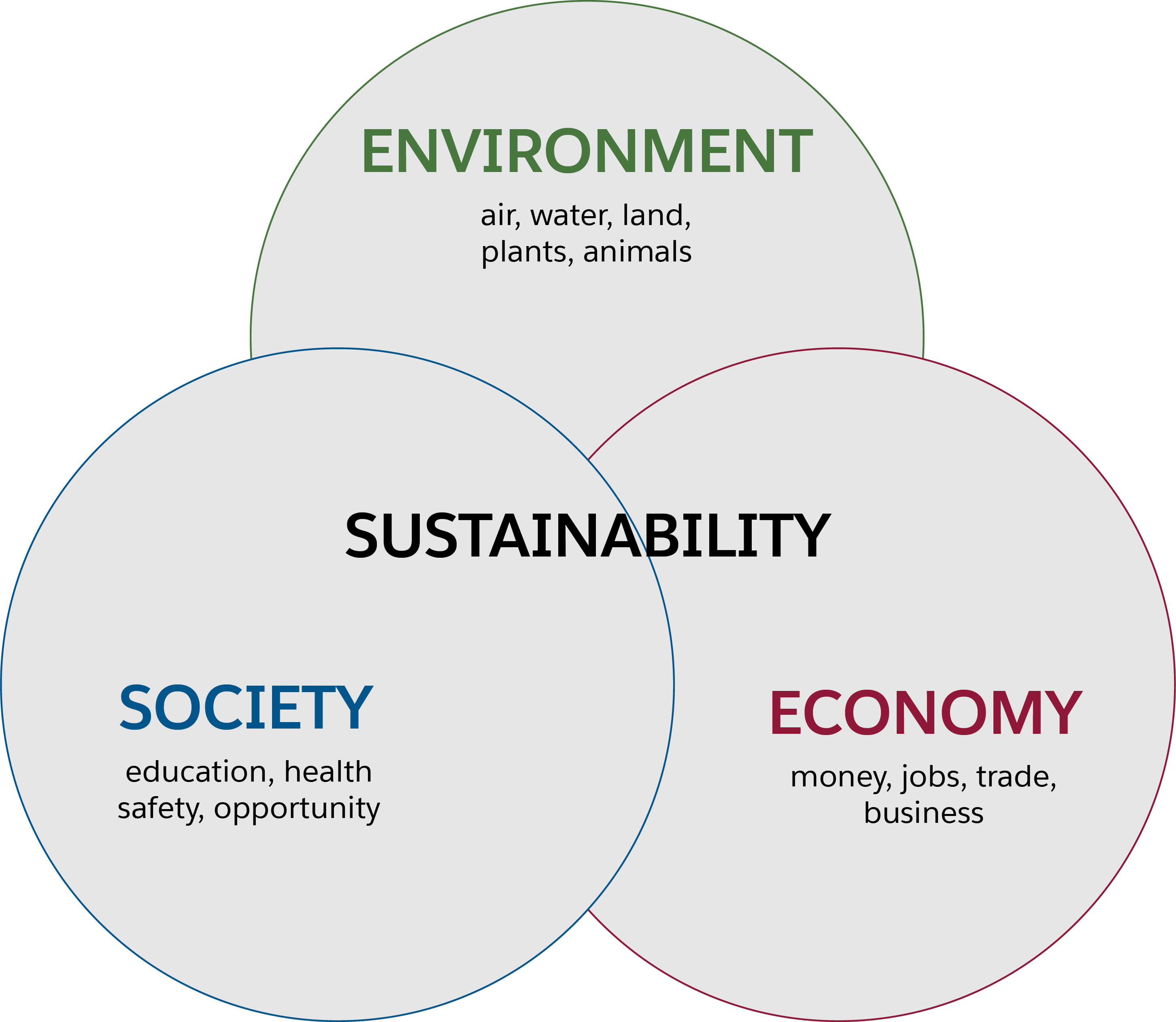 Diagram to illustrate sustainability, 3 circles intersecting, the top circle is labelled environment, the left circle is labelled society, the right circle is labelled economy, the word sustainability appears in the intersection.