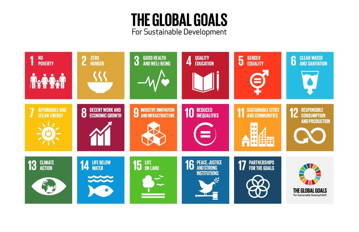 The Global Goals for Sustainable Development displayed in order from 1 to 17