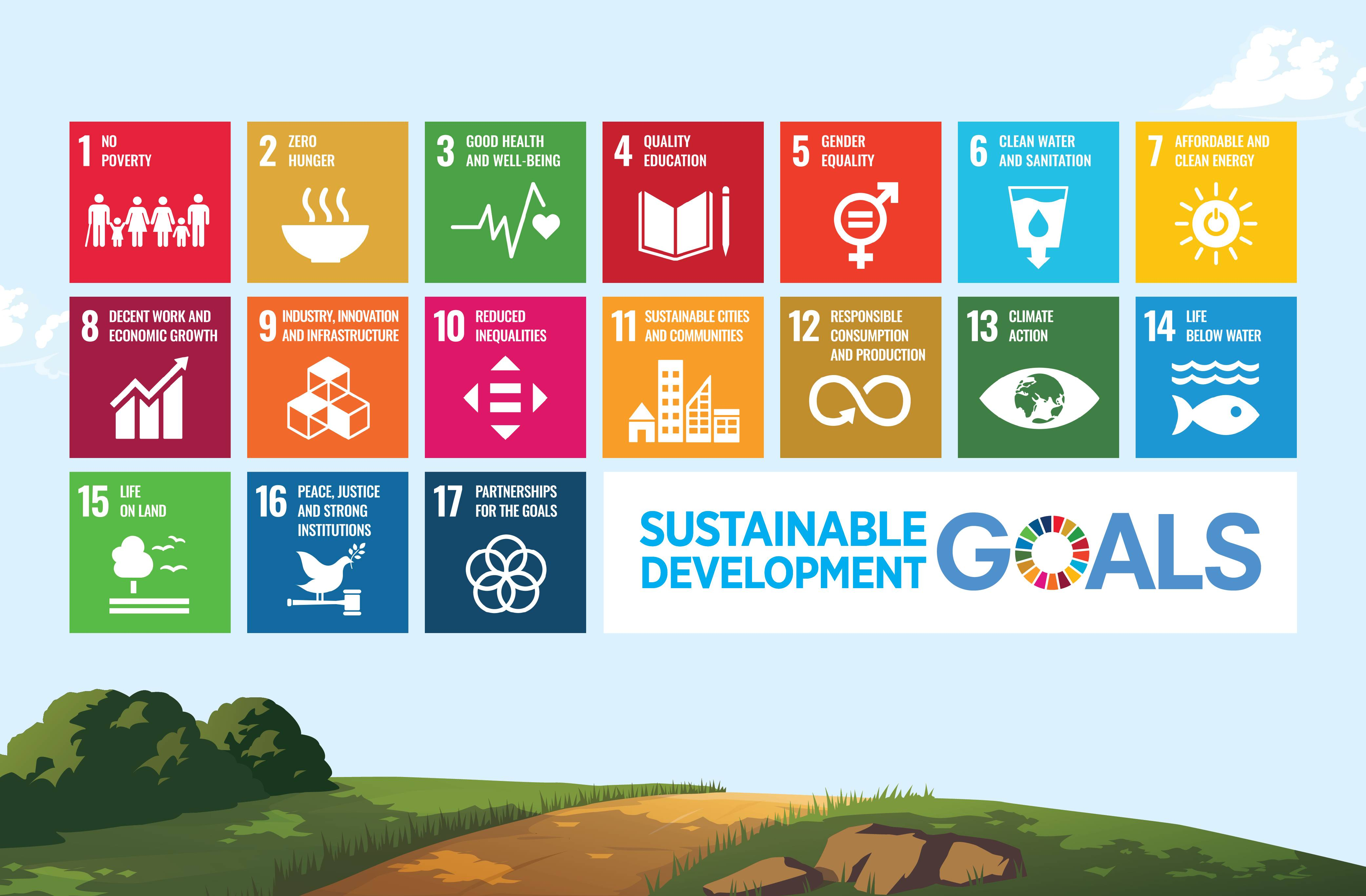 the 17 SDGs  or Global Goals